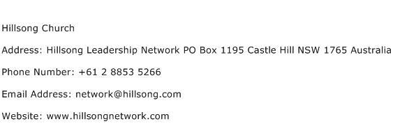 Hillsong Church Address Contact Number