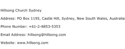 Hillsong Church Sydney Address Contact Number