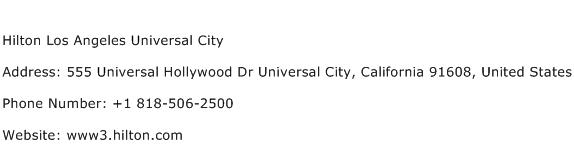 Hilton Los Angeles Universal City Address Contact Number
