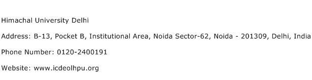 Himachal University Delhi Address Contact Number