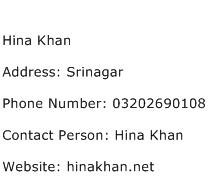 Hina Khan Address Contact Number