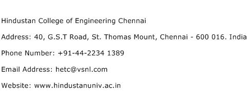 Hindustan College of Engineering Chennai Address Contact Number