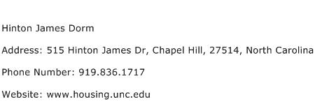 Hinton James Dorm Address Contact Number