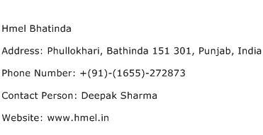 Hmel Bhatinda Address Contact Number