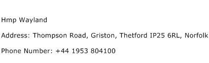 Hmp Wayland Address Contact Number