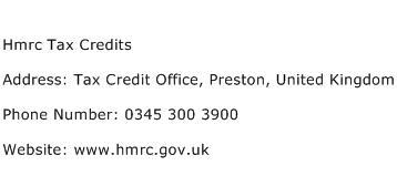 Hmrc Tax Credits Address Contact Number