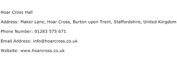 Hoar Cross Hall Address Contact Number