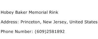 Hobey Baker Memorial Rink Address Contact Number