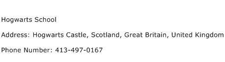 Hogwarts School Address Contact Number
