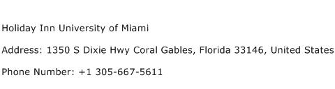 Holiday Inn University of Miami Address Contact Number