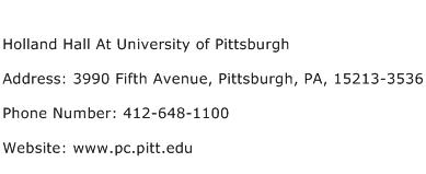 Holland Hall At University of Pittsburgh Address Contact Number