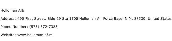 Holloman Afb Address Contact Number