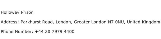 Holloway Prison Address Contact Number