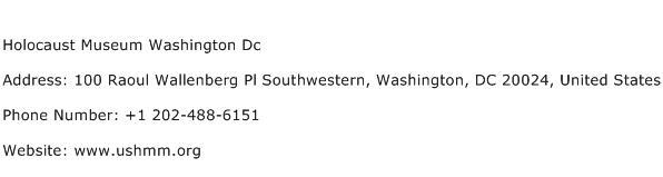 Holocaust Museum Washington Dc Address Contact Number