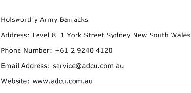 Holsworthy Army Barracks Address Contact Number