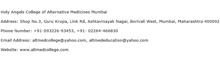 Holy Angels College of Alternative Medicines Mumbai Address Contact Number