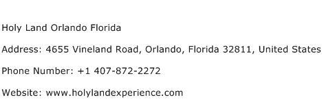 Holy Land Orlando Florida Address Contact Number