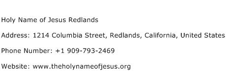 Holy Name of Jesus Redlands Address Contact Number