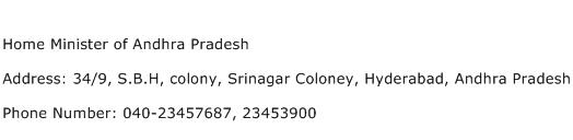 Home Minister of Andhra Pradesh Address Contact Number