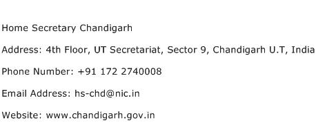 Home Secretary Chandigarh Address Contact Number