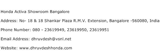Honda Activa Showroom Bangalore Address Contact Number