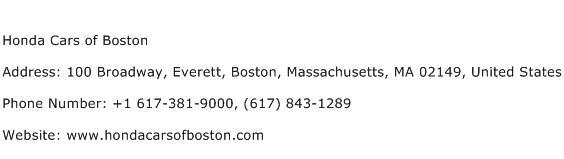 Honda Cars of Boston Address Contact Number