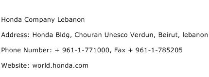 Honda Company Lebanon Address Contact Number