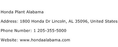 Honda Plant Alabama Address Contact Number