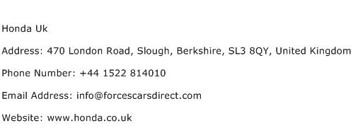Honda Uk Address Contact Number