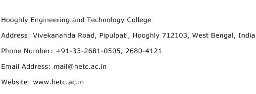 Hooghly Engineering and Technology College Address Contact Number