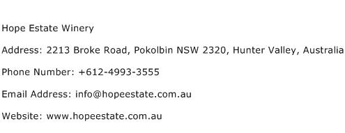 Hope Estate Winery Address Contact Number