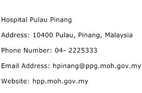 Hospital Pulau Pinang Address Contact Number