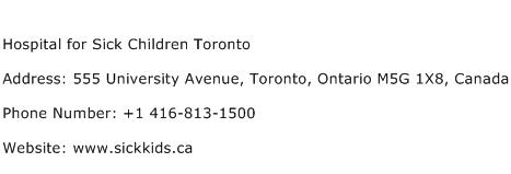 Hospital for Sick Children Toronto Address Contact Number