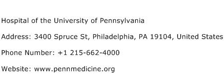 Hospital of the University of Pennsylvania Address Contact Number