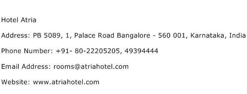Hotel Atria Address Contact Number