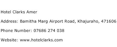 Hotel Clarks Amer Address Contact Number