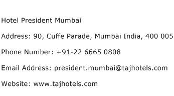Hotel President Mumbai Address Contact Number