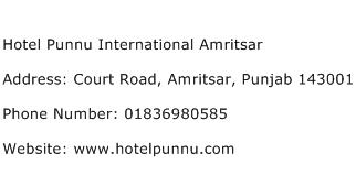 Hotel Punnu International Amritsar Address Contact Number