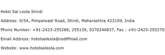 Hotel Sai Leela Shirdi Address Contact Number