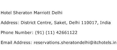 Hotel Sheraton Marriott Delhi Address Contact Number