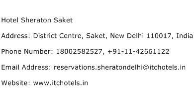 Hotel Sheraton Saket Address Contact Number