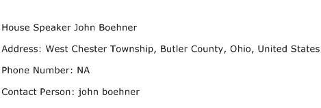 House Speaker John Boehner Address Contact Number