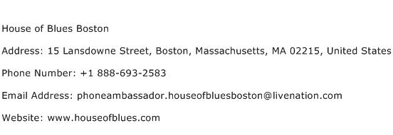 House of Blues Boston Address Contact Number
