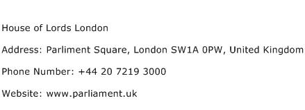 House of Lords London Address Contact Number