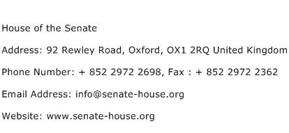 House of the Senate Address Contact Number