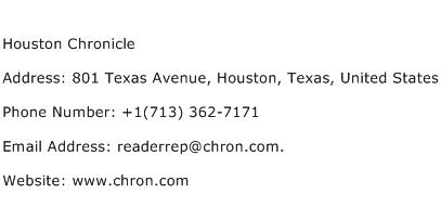 Houston Chronicle Address Contact Number