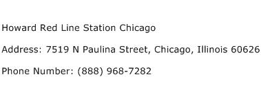 Howard Red Line Station Chicago Address Contact Number