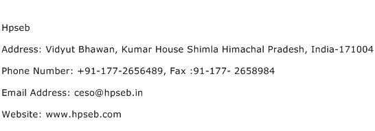Hpseb Address Contact Number