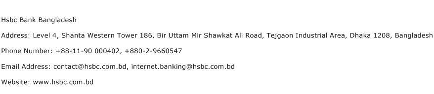 Hsbc Bank Bangladesh Address Contact Number