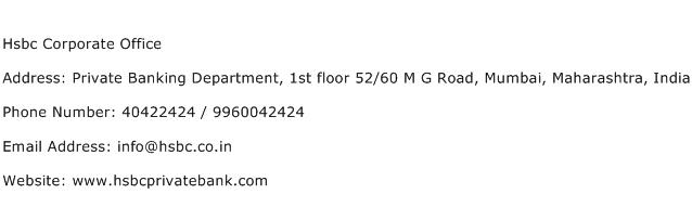 Hsbc Corporate Office Address Contact Number